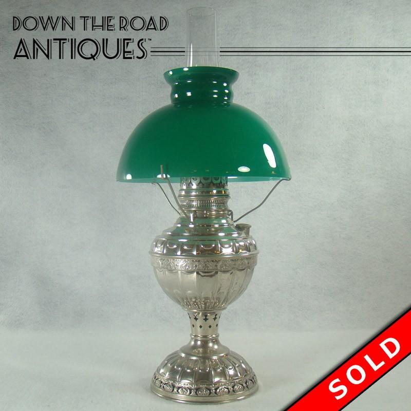 Miller dresden kerosene lamp with emeralite green shade dtr antiques miller dresden kerosene lamp with emeralite green shade mozeypictures Gallery