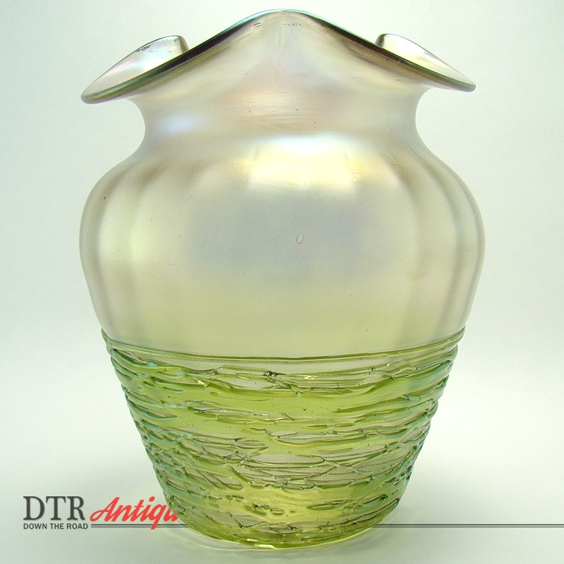 Iridescent Art Glass Vase With Threaded Base Dtr Antiques