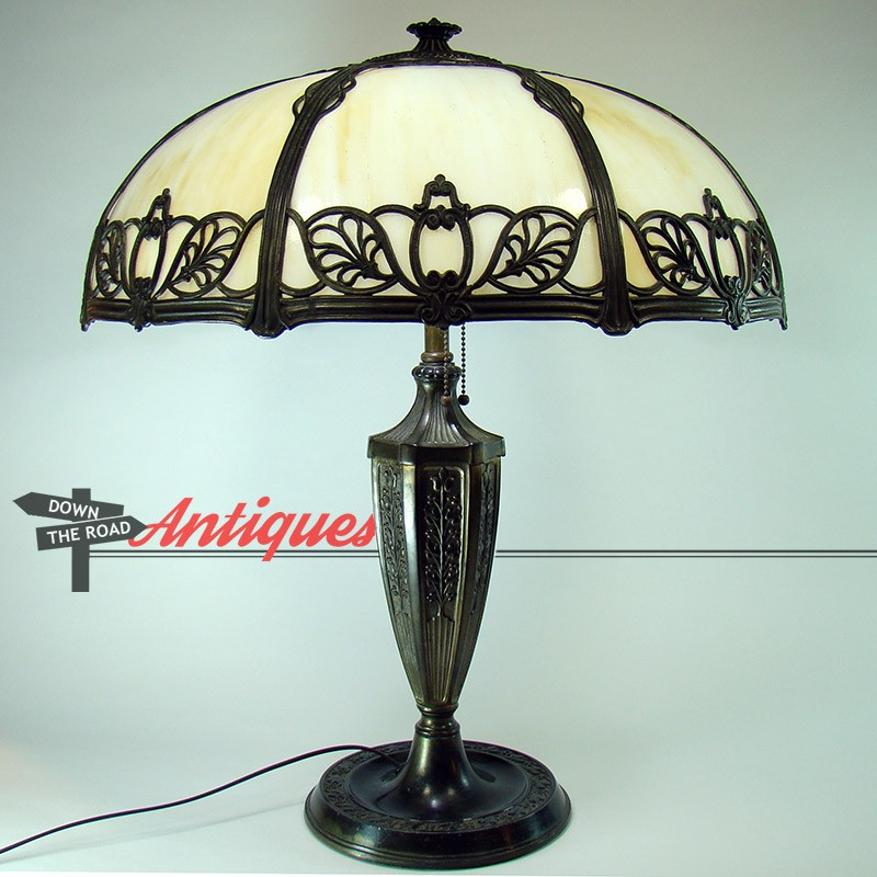 Miller Electric Table Lamp With Filligreed Eight Panel Art Glass Shade, C.  1920u0027s
