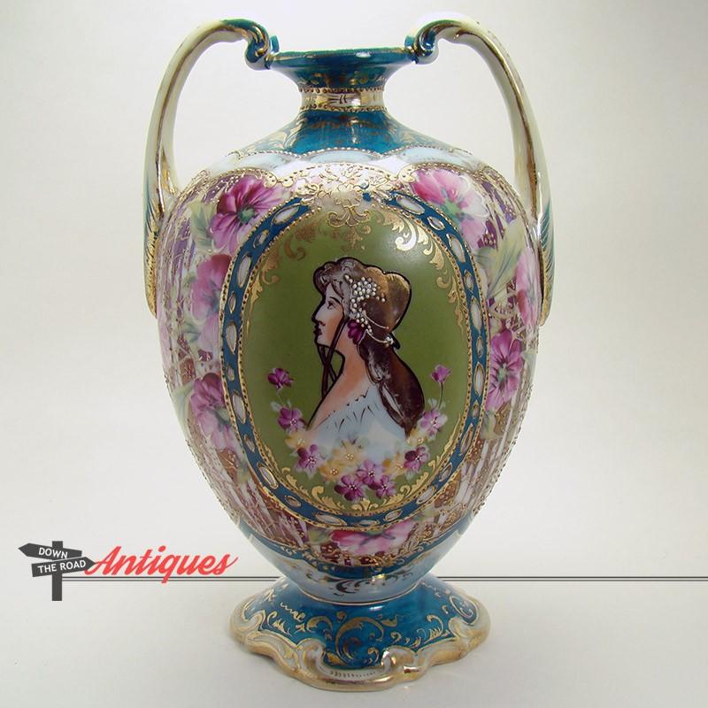 Nippon Porcelain Portrait Vase With Two Handles Dtr Antiques
