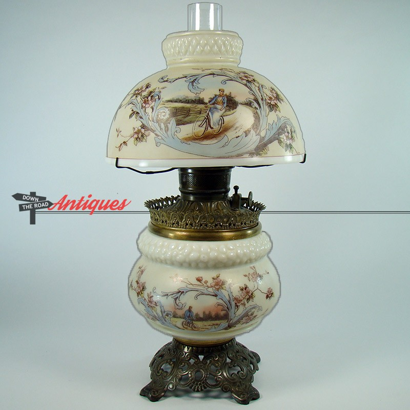 Rare Mount Washington Banquet Lamp with Bicyclists   DTR Antiques