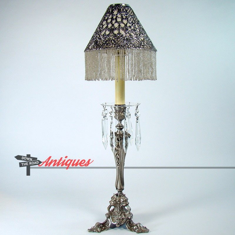 Gorham Silver Plated Center Table Candelabra With Beaded Shade And  Spring Loaded Candle Holder