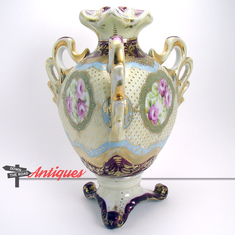 Hand Painted Bolted Nippon Porcelain Vase With Three Handles Dtr