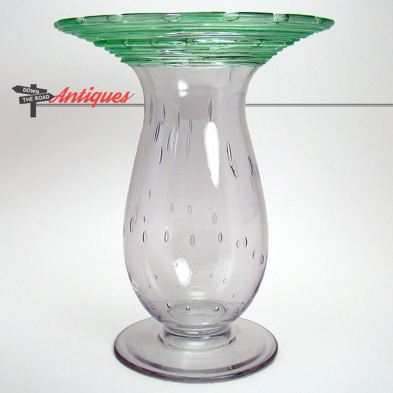 Steuben Controlled Bubble Art Glass Vase With Green Threading Dtr