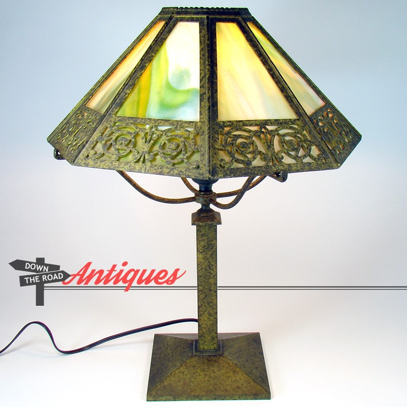 Bradley And Hubbard Electric Table Lamp With Arts And Crafts Glass Panel  Lamp