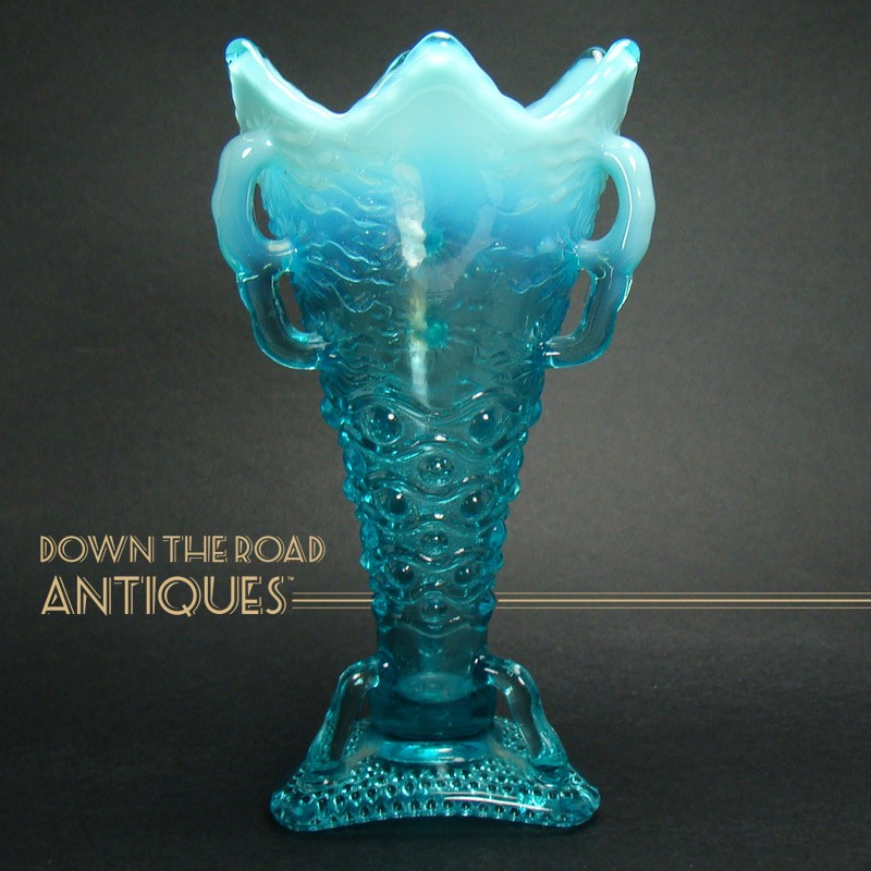 Blue Opalescent Glass Vase With Three Handles Dtr Antiques