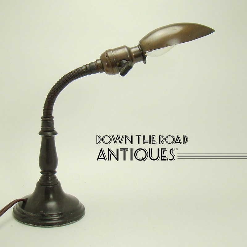 Small Goose Neck Desk Lamp With Bronze Shade 1920 S