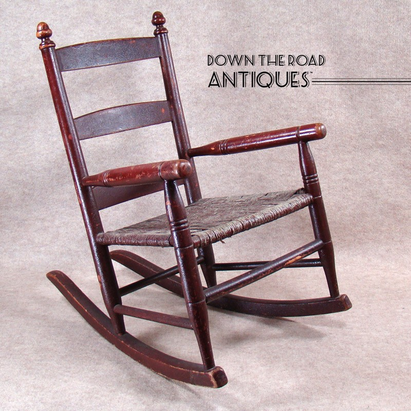 Childu0027s Rocking Chair With Original Red Paint And Rope Seat   1880u0027s