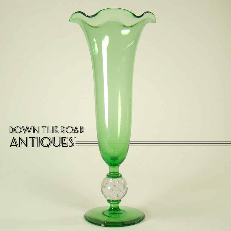 Pairpoint Green Glass Vase With Controlled Bubble Ball Dtr Antiques