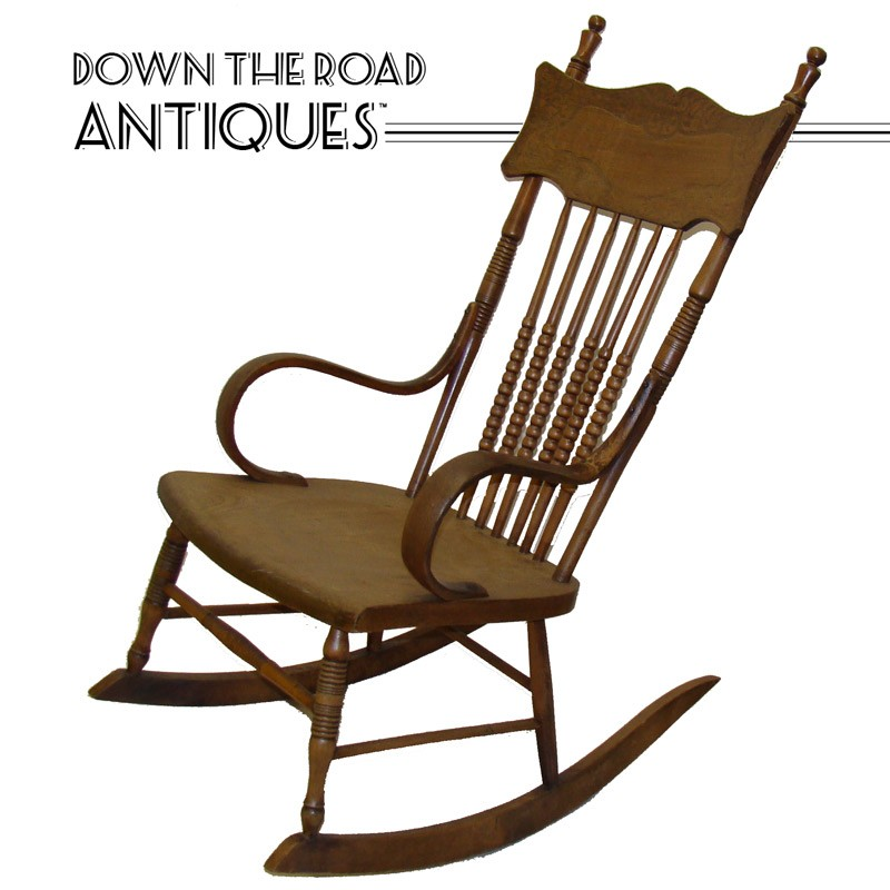 Solid Chestnut Spindle-Back Rocking Chair - 1910 - Solid Chestnut Spindle-Back Rocking Chair DTR Antiques