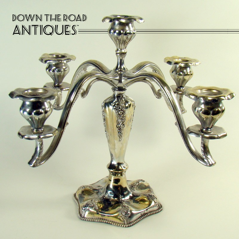 Silver plated candelabra with five candle inserts Art Nouveau style  sc 1 st  DTR Antiques & Silver Plated Candelabra with Five Candle Inserts - Art Nouveau ...