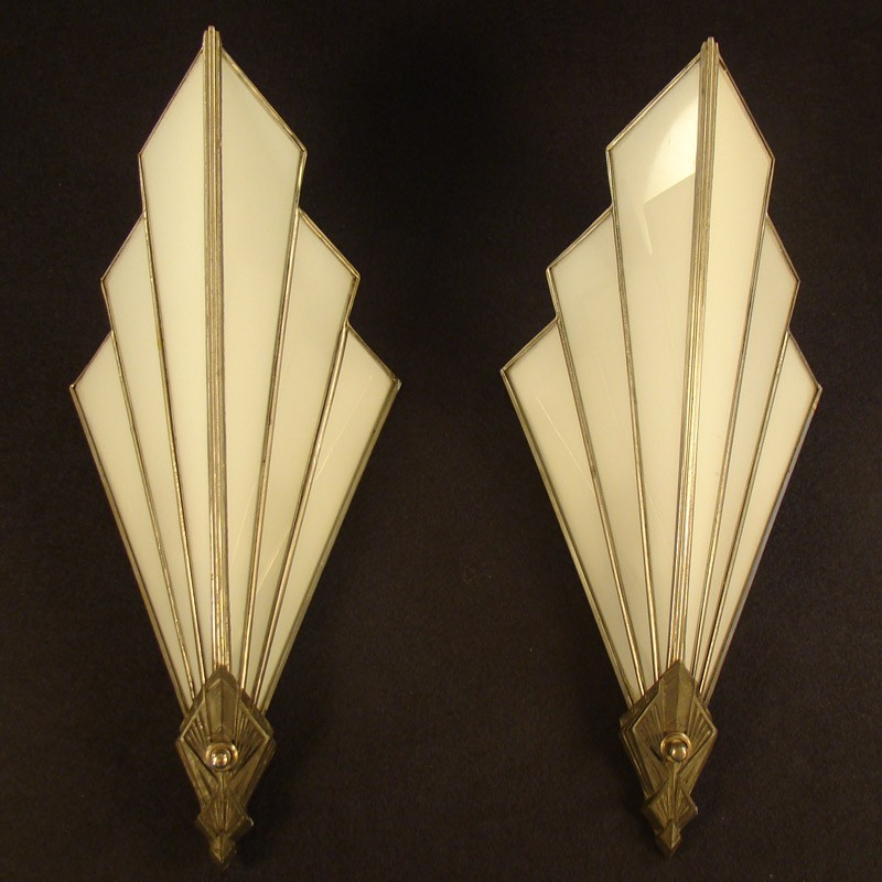 Art deco theater style lamps dtr antiques for Art deco style lamp