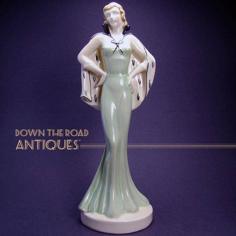 Art Deco Czechoslovakian Ceramic Woman Statue | Dtr Antiques