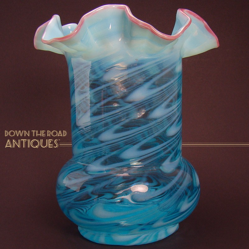 Northwood Opalescent Aqua Blue Fluted Glass Vase Dtr Antiques