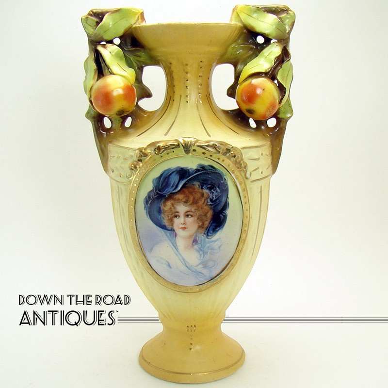 Austrian Porcelain Portrait Vase With Applied Peach Handles Dtr