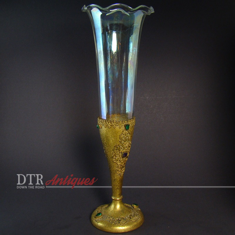 Silvercraft Rainbow Glass Epergne With Gold Dore Holder Dtr Antiques