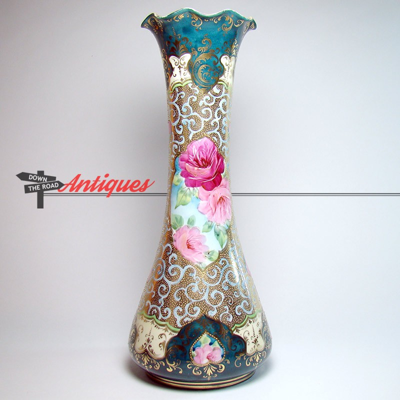 Large Hand Painted Nippon Porcelain Vase With Bright Gold And