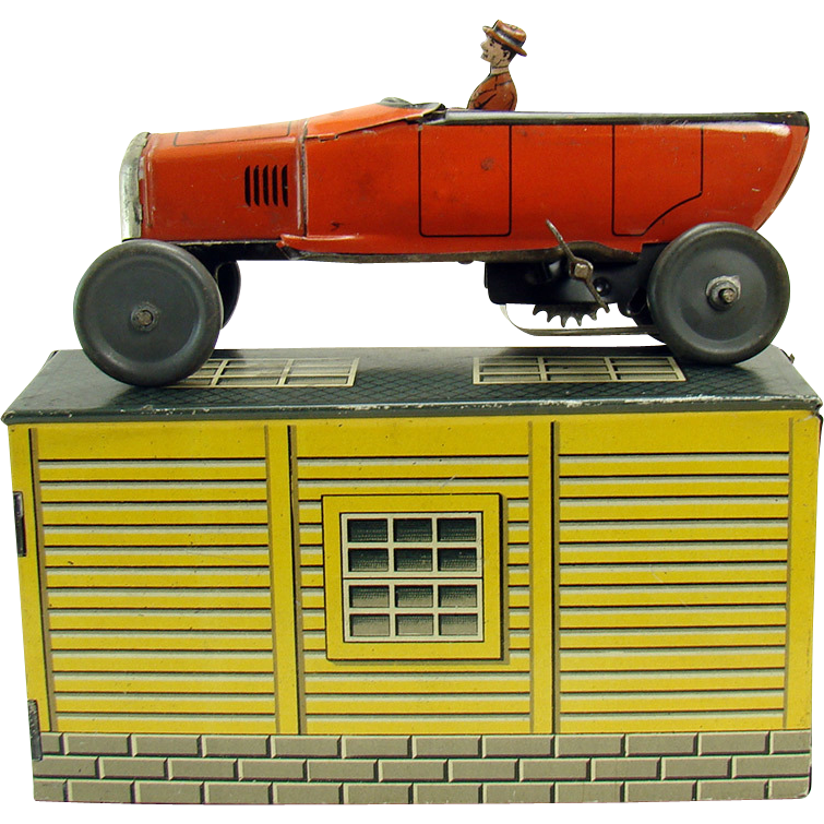 Bing Touring Car Wind Up Toy With Garage Dtr Antiques