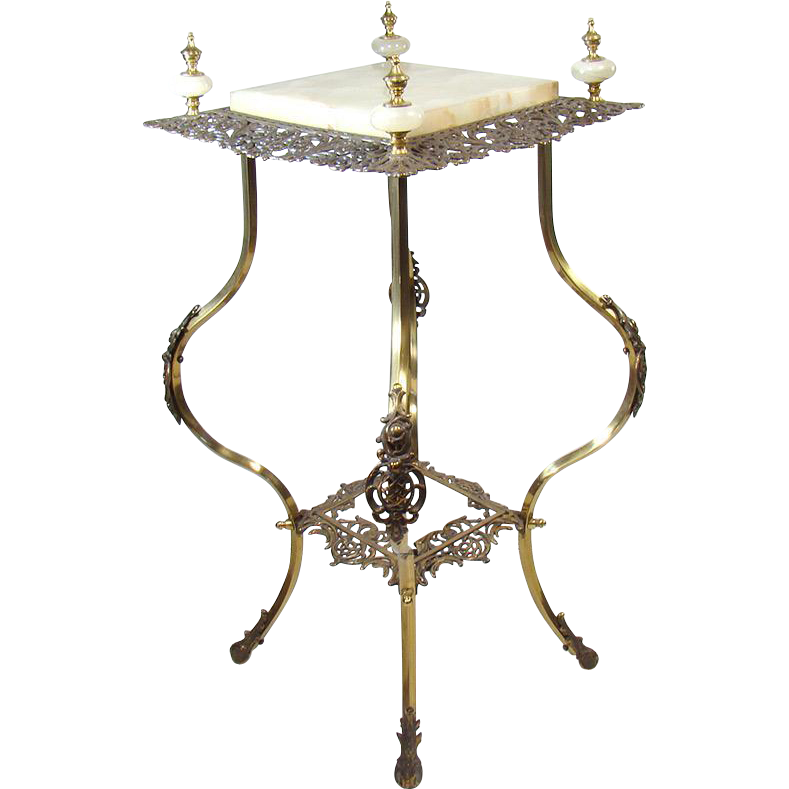 Iron And Brass Fern Stand Lamp Table Dtr Antiques