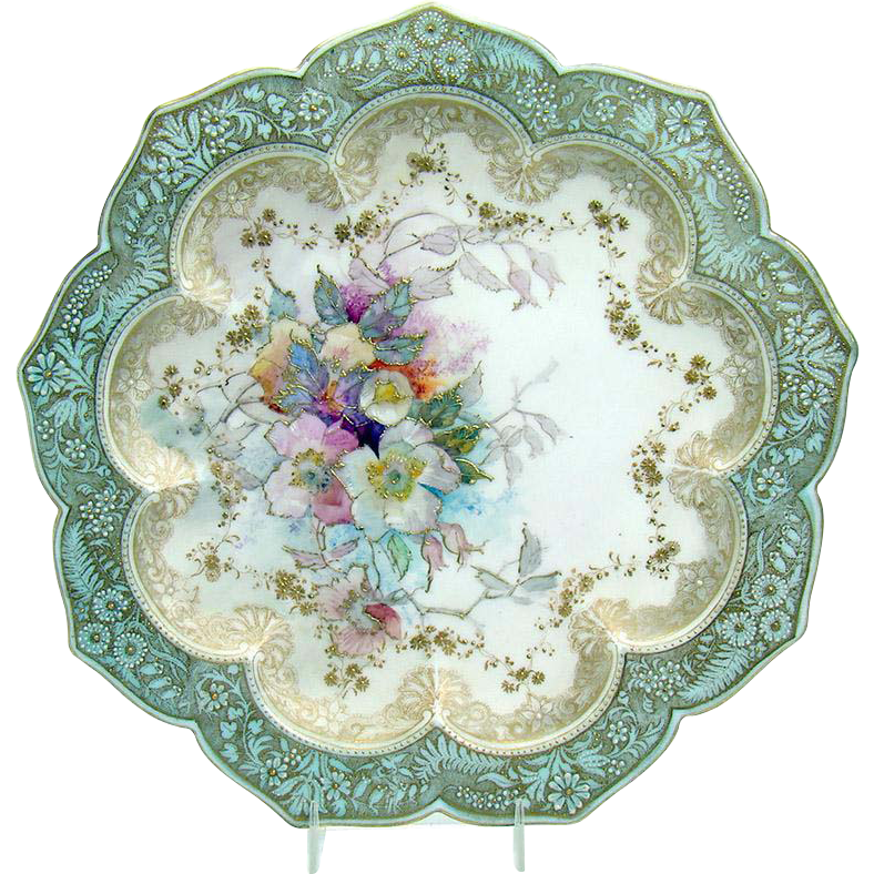 Hand-Painted Doulton Burslem Porcelain Plate with Scalloped Border (SOLD)  sc 1 st  DTR Antiques & Hand-Painted Doulton Burslem Porcelain Plate with Scalloped Border ...