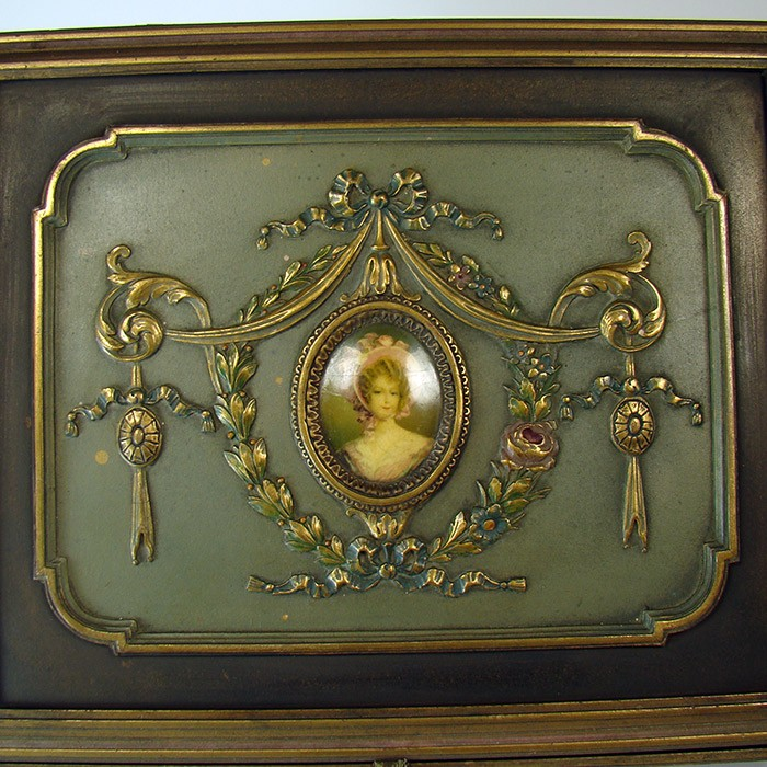 Jewelry Box with Ornate Gesso Art Nouveau Pattern and Center Cameo