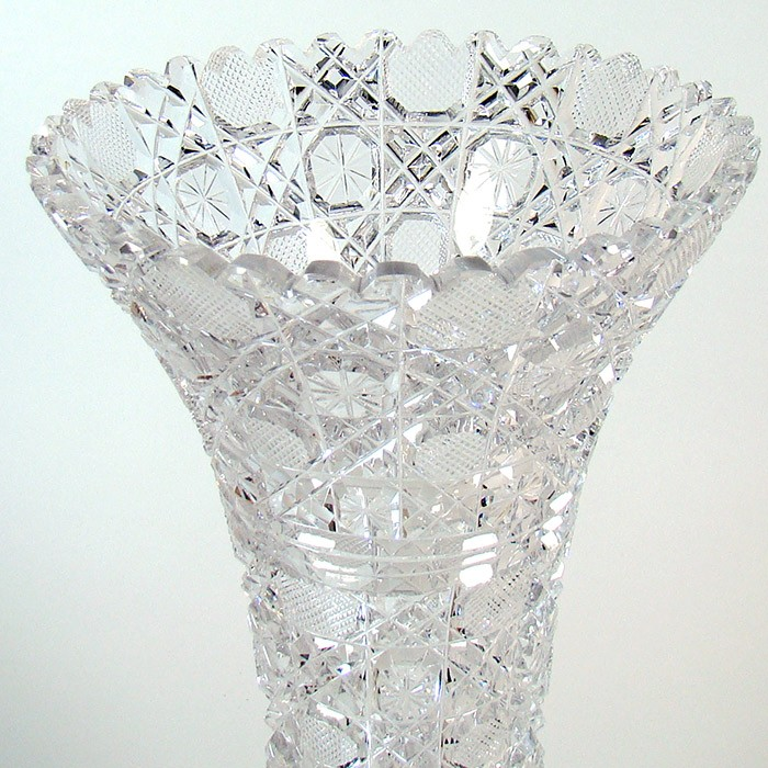 Large Cut Glass Vase American Brilliant Period Dtr Antiques