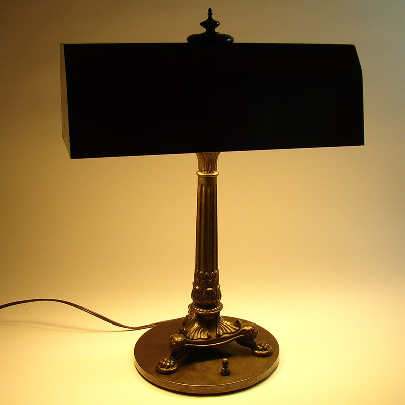 Bronzed Desk Lamp With Lion Heads And Claw Feet Dtr Antiques