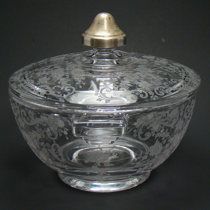 cambridge rosepoint glass candy dish with sterling knob. Black Bedroom Furniture Sets. Home Design Ideas