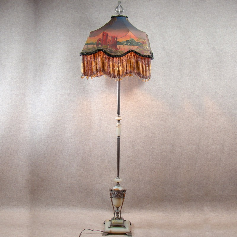 Marble Amp Alabaster Silver Plated Figural Floor Lamp With