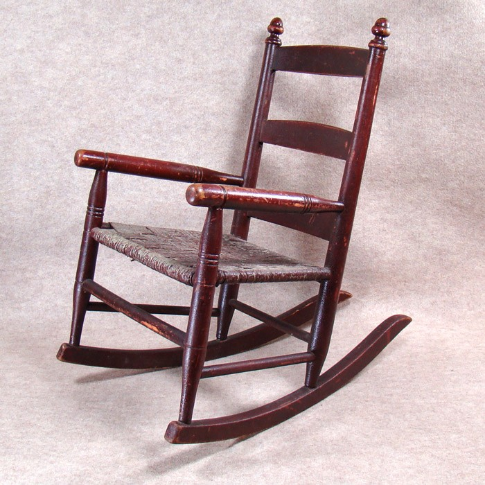Child Red Rocking Chair ~ Small rocking chair with original red paint and rope seat