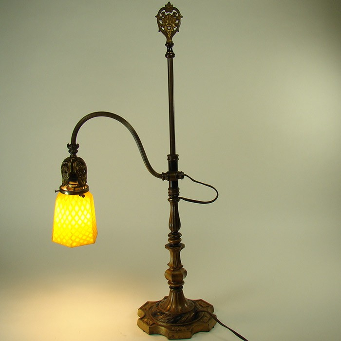 Lovely Rembrandt Adjustable Table Lamp With Quilted Mother Of Pearl Art Glass Shade