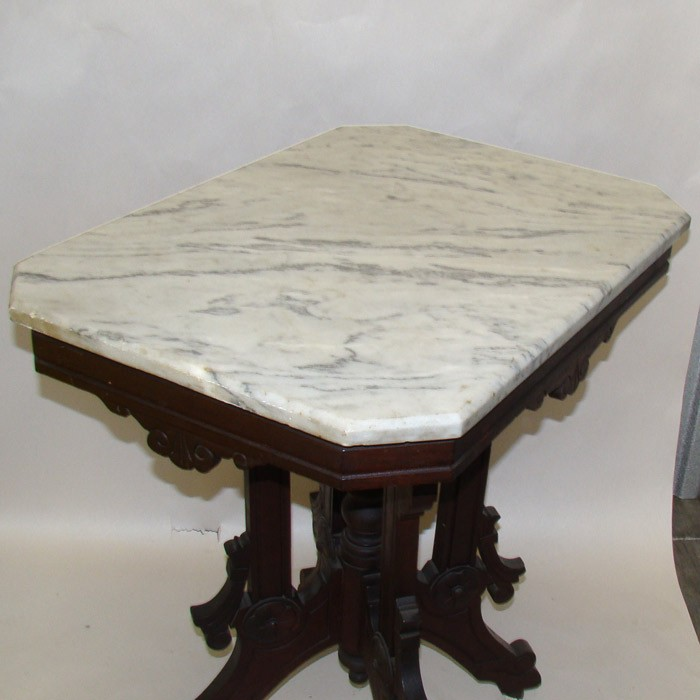 Victorian Carved Walnut Marble Top Table On Porcelain Castors. Enlarge