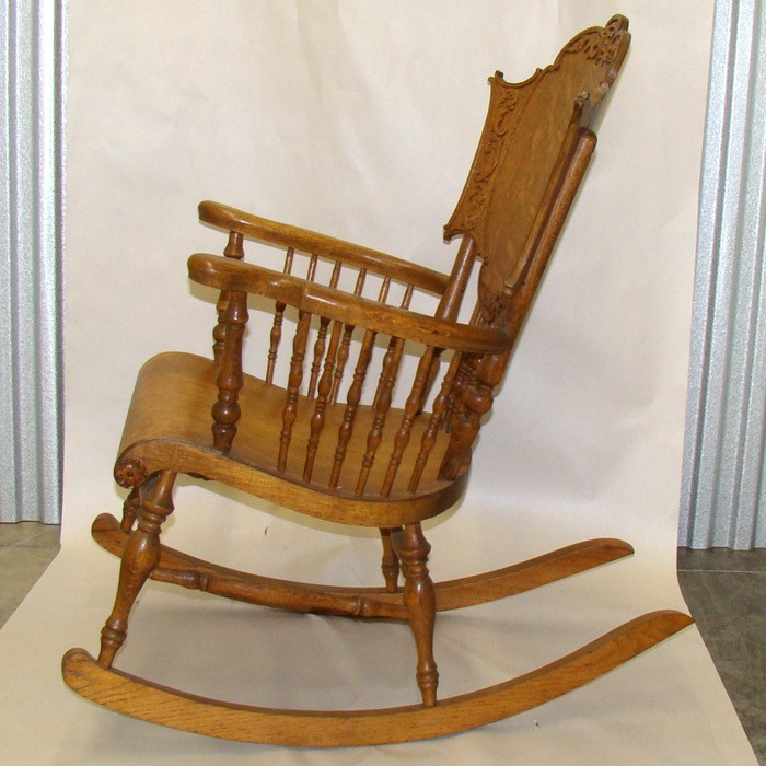 Enlarge - Carved Quartersawn Oak Rocking Chair With Spindles DTR Antiques