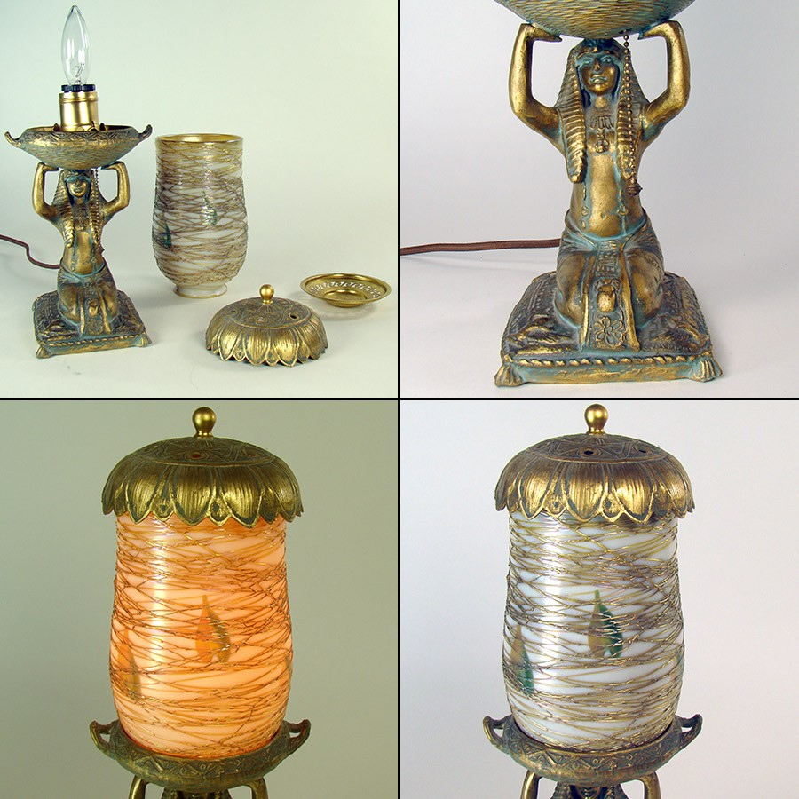 egyptian perfume lamp with signed lustre art glass shade. Black Bedroom Furniture Sets. Home Design Ideas