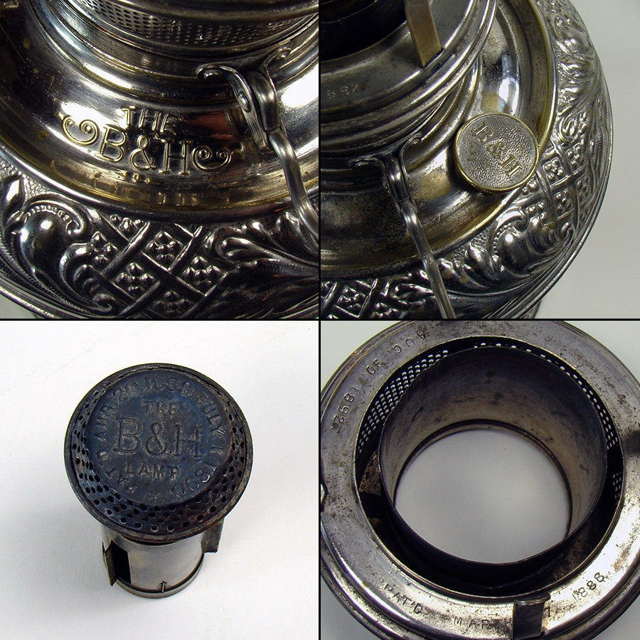 Nickel Plated Bradley Amp Hubbard Kerosene Lamp Dtr Antiques
