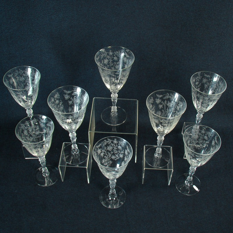 cambridge rosepoint glass stemware set of eight 8 - Cambridge Glass