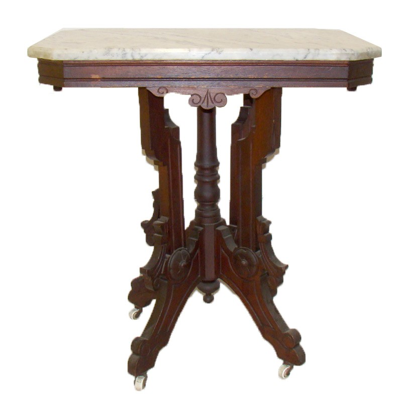 Victorian White Marble Top Table Dtr Antiques