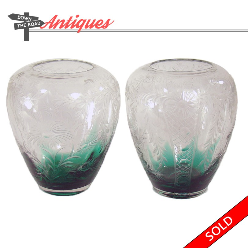 Steuben Carved Emerald Green And Clear Glass Floral Vases Dtr Antiques