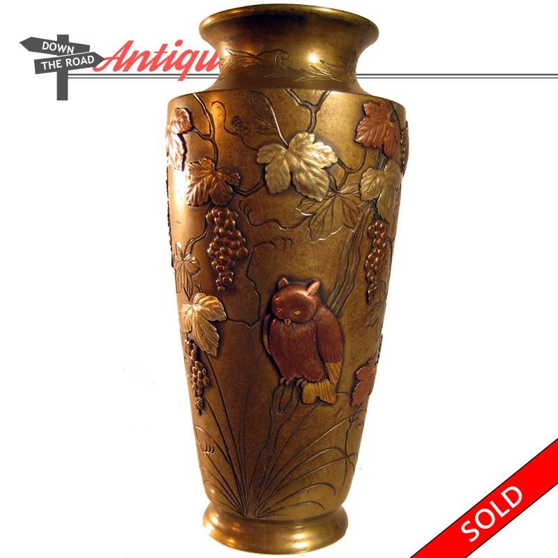 Brassbronze Mixed Metals Vase 1880s Dtr Antiques
