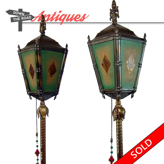 Arts crafts floor lamps with four mica panels dtr antiques pair of arts crafts floor lamps with mica paneled shades and cut glass medallion pulls aloadofball Images