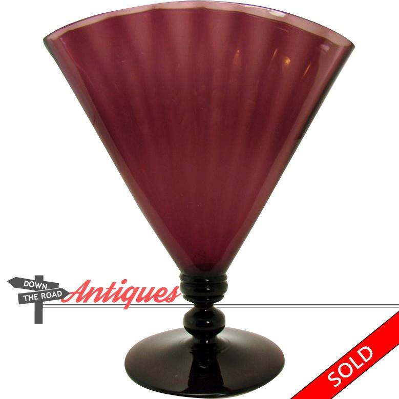 Signed Steuben Amethyst Glass Ribbed Fan Vase Dtr Antiques