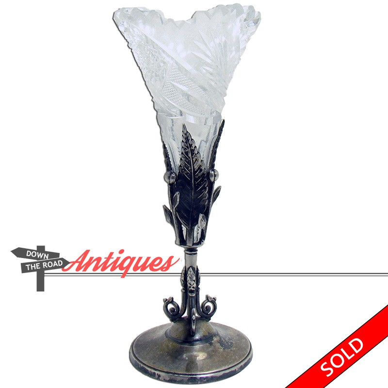 Victorian Cut Glass Bud Vase With Silver Plated Holder Dtr Antiques