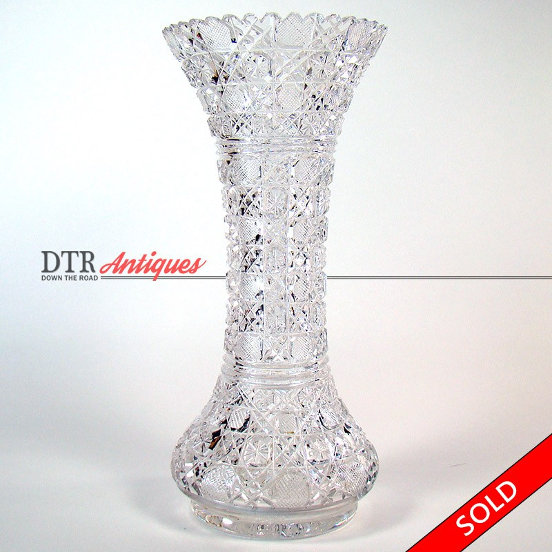 Large Cut Glass Vase American Brilliant Period Dtr Antiques