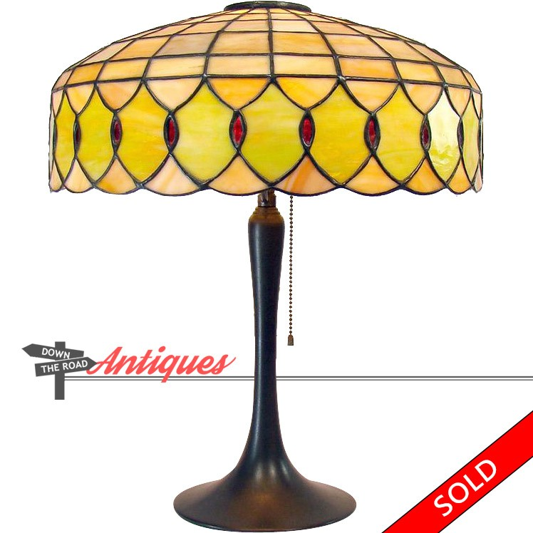 Lamb Brothers Electric Table With With Leaded Glass Shade And Bronze Base