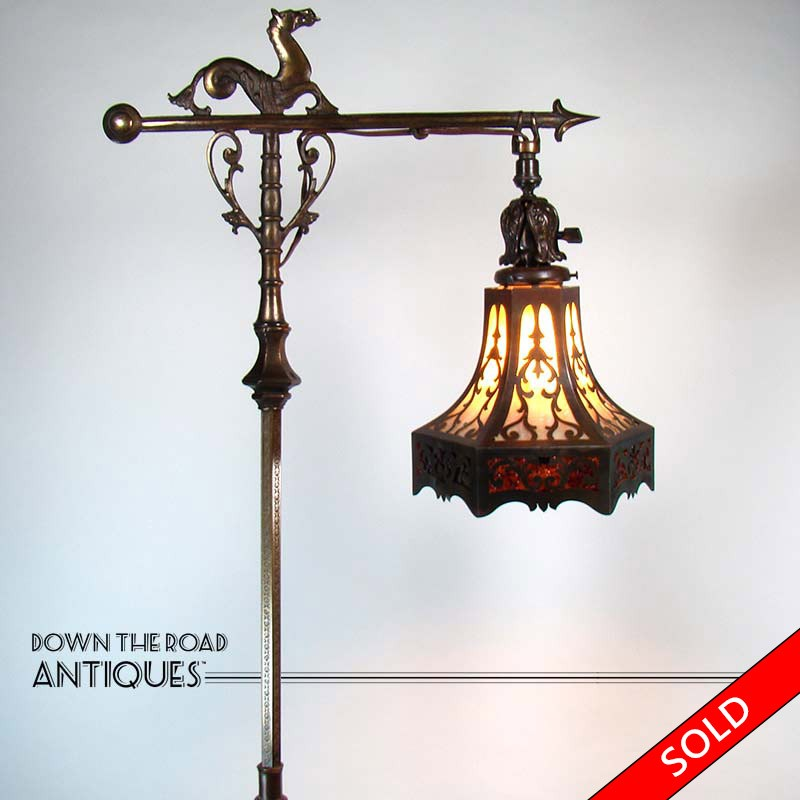 Rembrandt floor lamp with sea horse and lizard pierced arts rembrandt electric floor lamp with sea horse and lizard design and pierced arts crafts style aloadofball Gallery