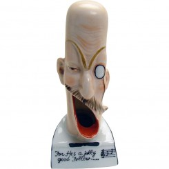 "Porcelain Musical-Themed Ashtray with Funny Faces - ""For He's a Jolly Good Fellow"""
