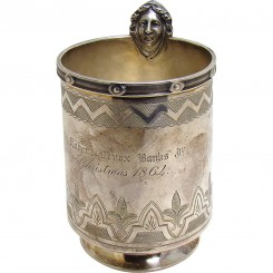 Sterling Silver Mug with Robert Lenox Banks, Erastus Corning Inscription - 1864