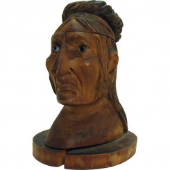 Hand-Carved American Indian Ink Well with Glass Eyes - 1910