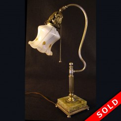 Antique Fostoria silver plated electric desk lamp with art glass shade