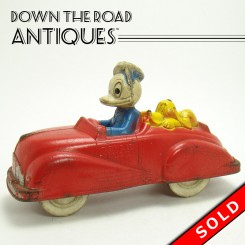 Sun Rubber Donald Duck and Pluto in Car Toy